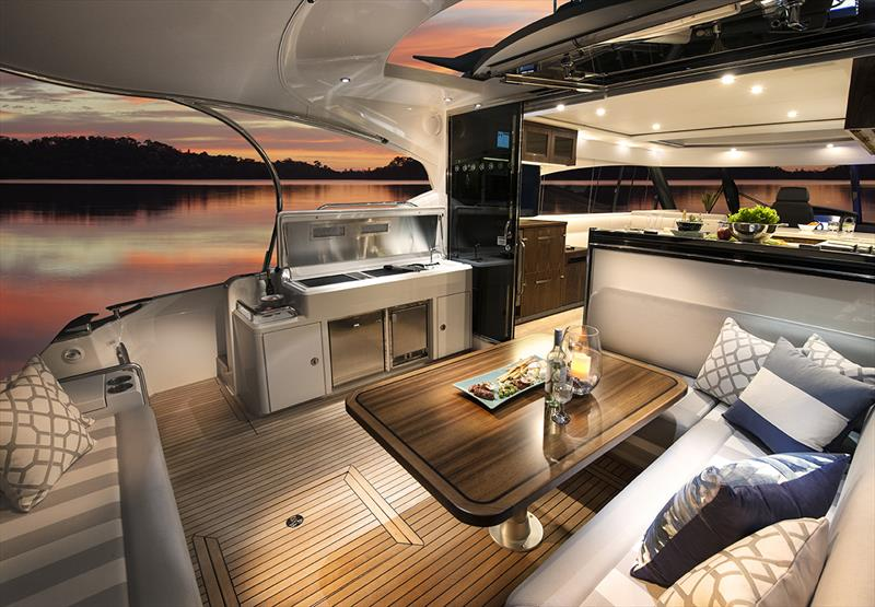Seamless connection between the wide, comfortable cockpit of the 5400 Sport Yacht ands the luxurious interior. - photo © Riviera Australia