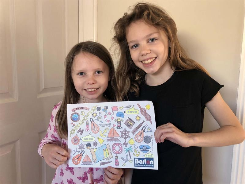 Amy and Emma complete their Barton colouring sheet - photo © David Cramphorn
