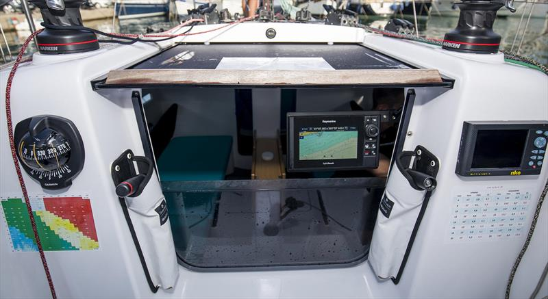 Innovative swing arm for the chart plotter so it can be seen both up on deck, and down below - Beneteau First 27 - photo © Beneteau