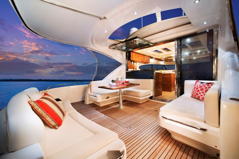 The ultimate alfresco lifestyle in the large cockpit of the Riviera 6000 Sport Yacht - photo © Riviera Australia