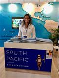 Maddie Spencer from Superyacht Australia on the South  Pacific stand - Monaco Yacht Show 2019
