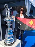 Ange Pennefather of Melanesian Yacht Services with the Auld Mug - Monaco Yacht Show 2019