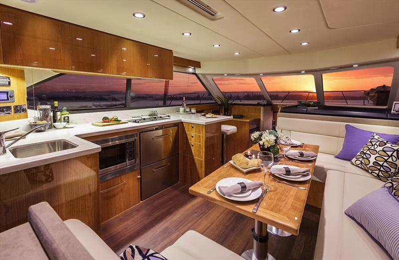 Her very comfortable interior ensures the 43 Open Flybridge offers all the comforts of home - photo © Riviera Studio