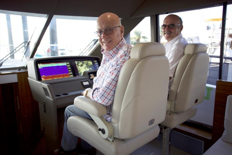 Maritimo's founder Bill Barry-Cotter and operations manager Phil Candler at the helm of the S70 with the new dash design. - photo © Maritimo