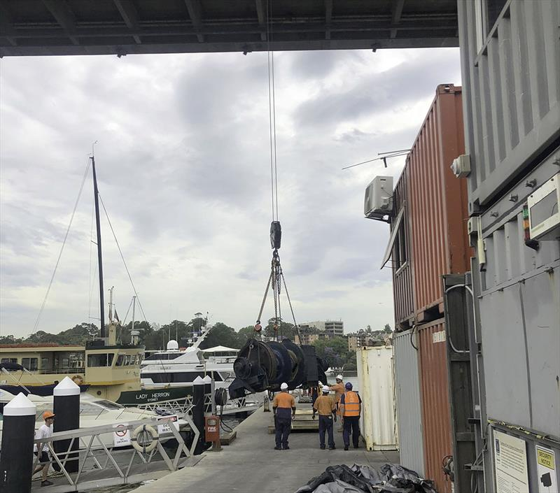 The 70-tonne pull winch lands safely on the quay, ready for work to begin. photo copyright SCM taken at  and featuring the Marine Industry class