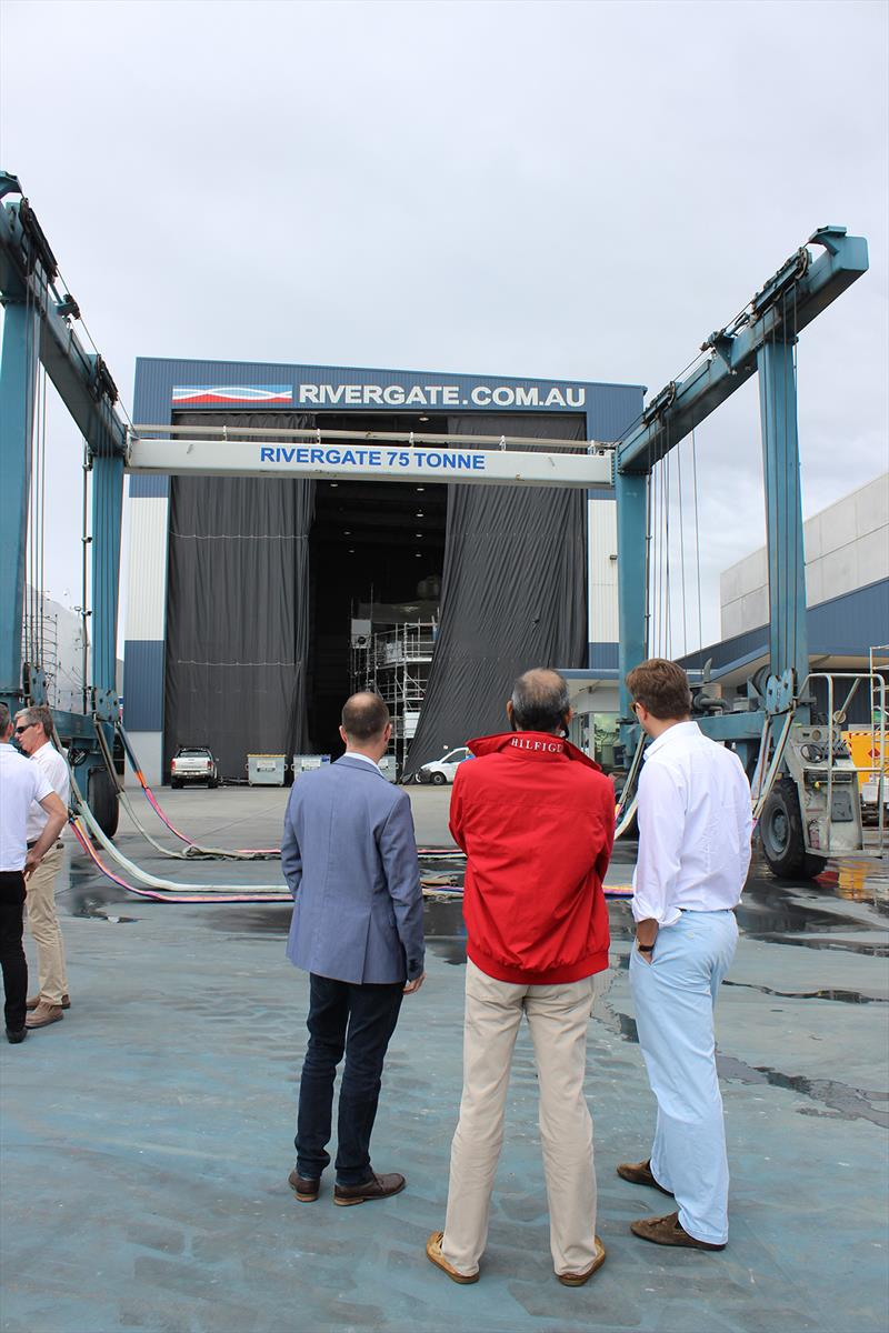 Rivergate Marina & Shipyard hoist - 2019 ASMEX Conference - Yard Tours photo copyright Kylie Pike taken at  and featuring the Marine Industry class