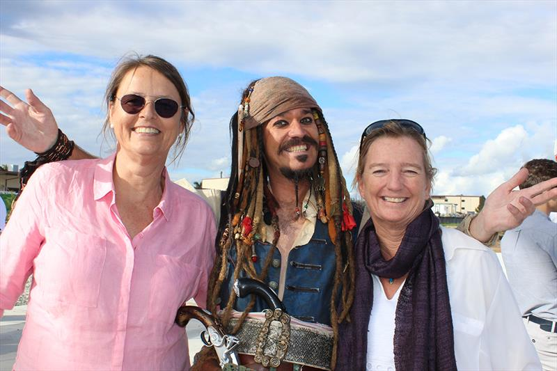 The Boat Works – From the left: Marieke Derks, Capt. Jack Sparrow and Zara Tremlett from The Superyacht Services Guide - 2019 ASMEX Conference - Yard Tours photo copyright Kylie Pike taken at  and featuring the Marine Industry class