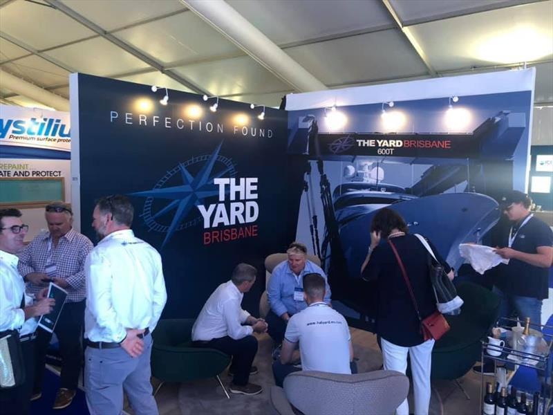Plenty of discussion on The Yard Brisbane's stand - Monaco Yacht Show 2019 photo copyright Maddie Spencer taken at  and featuring the Marine Industry class