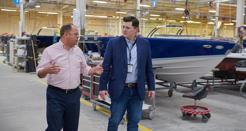 Shane Stanfill, President of Cobalt Boats and Kansas State Treasurer Jake LaTurner touring Cobalt Headquarters photo copyright Cobalt Boats taken at  and featuring the Marine Industry class