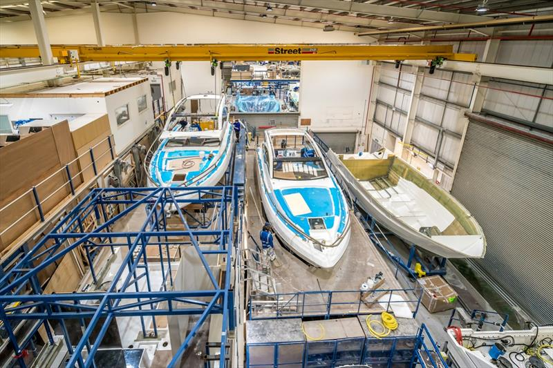 Boats in build at the Fairline Yachts factory in Oundle, Northamptonshire. photo copyright Beki Sharman taken at  and featuring the Marine Industry class