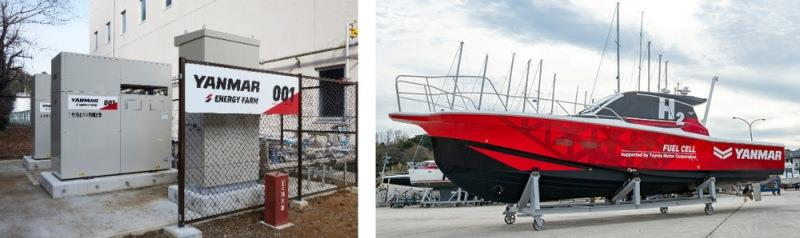 Left: A biogas generation system; right: Yanmar's hydrogen fuel cell test boat. photo copyright Yanmar taken at  and featuring the Marine Industry class