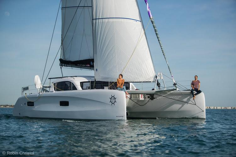 La Vagabonde couple on board their new Outremer 45 - photo © Robin Christol