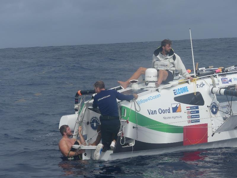 The Row4Ocean crew carry out repairs to their rudder during the Atlantic crossing attempt photo copyright Row4Ocean taken at
