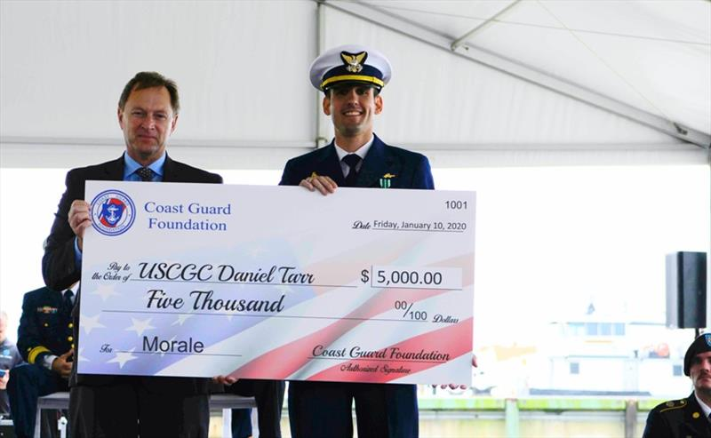 Bob Montgomery, Coast Guard Foundation Board Member Presents Morale Funds to Lieutenant Nicholas Martin, Commanding Officer of the Daniel Tarr - photo © Coast Guard Foundation