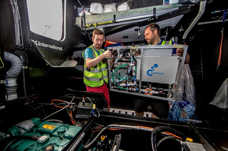 Fitting of the microplastic data equipment on a race boat in The Ocean Race photo copyright Jesus Renedo / Volvo AB taken at
