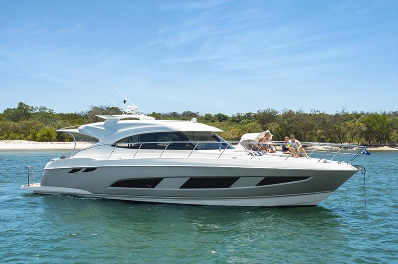 Sleek styling and luxurious single-level living of the Riviera 4800 Sport Yacht. - photo © Riviera Australia