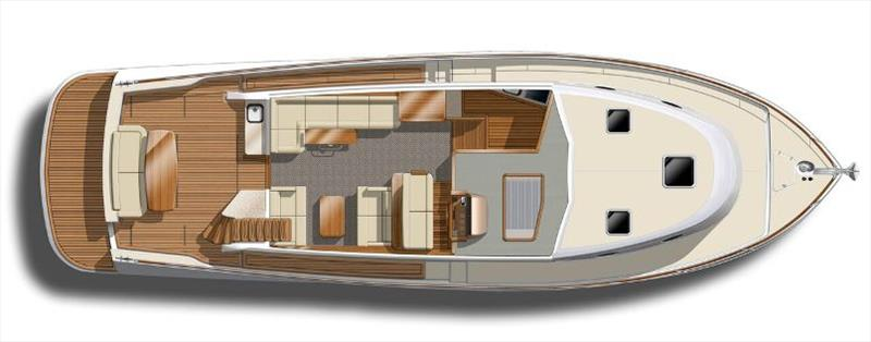 GB52 - Maindeck - Lower Galley Lounges - photo © Grand Banks Yachts
