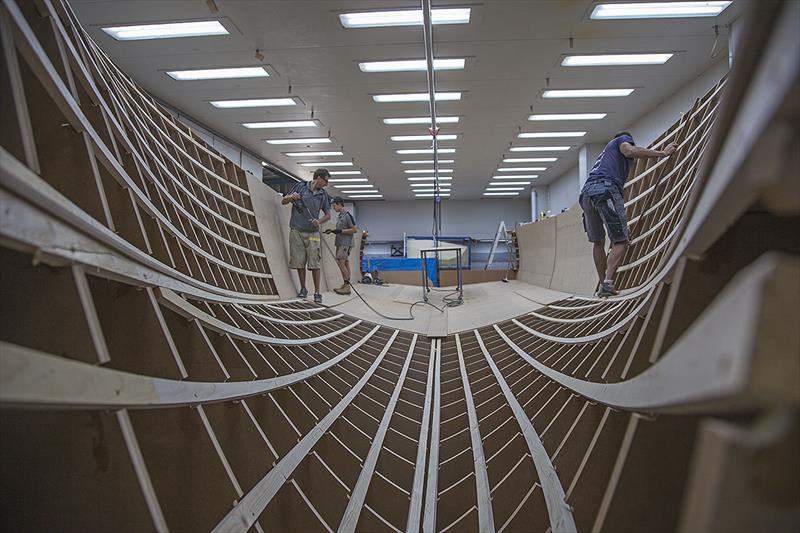 Working away to finish the mould for the new Composites Cosntructions 48-footer - photo © John Curnow