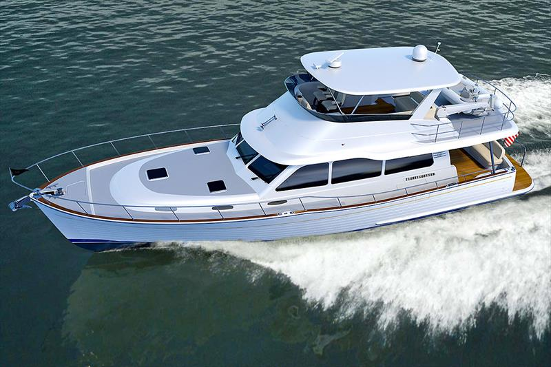 Drone's eye view - The new Grand Banks 54 as seen form overhead. photo copyright Grand Banks / Palm Beach taken at  and featuring the Power boat class