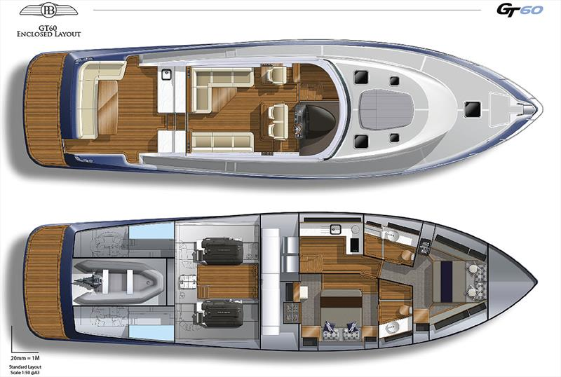 Layout for the soon to be released GT60 from Palm Beach photo copyright Grand Banks/Palm Beach taken at  and featuring the Power boat class