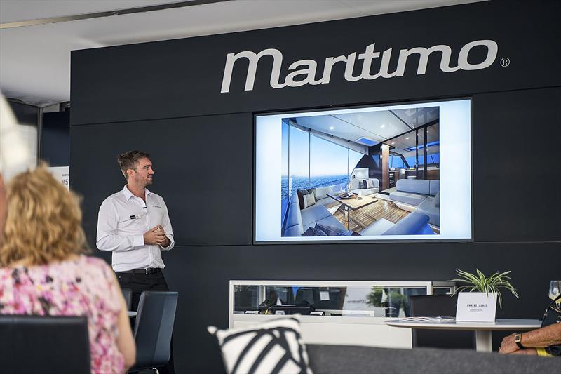 Tom Barry-Cotter walks prospective buyers through the new Maritimo S55 - photo © Maritimo
